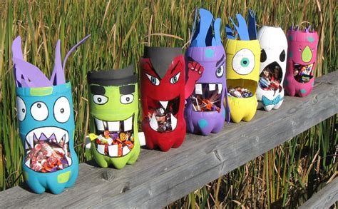 crafts from recycled items soda bottle monsters totally green crafts