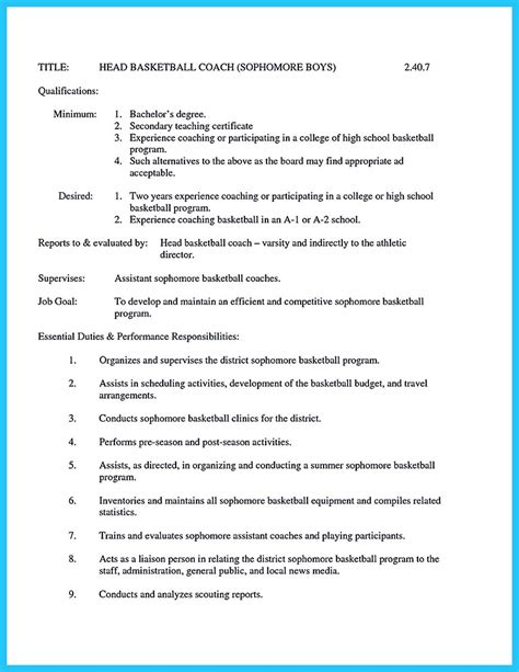 Resume Template Coaching by Captivating Thing For And Acceptable Basketball