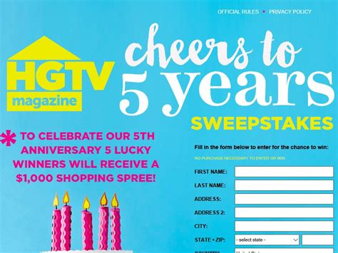 magazine sweepstakes hgtv magazine s 5th anniversary sweepstakes