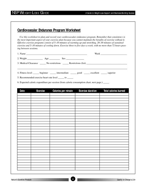 Plan Worksheet by 15 Best Images Of Exercise Plan Worksheet Personal