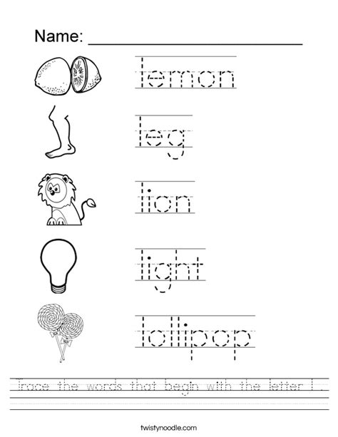 Word Tracing Worksheets by Trace The Words That Begin With The Letter L Worksheet