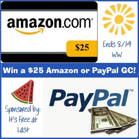 Convert Paypal To Amazon Gift Card - win a 25 paypal or amazon gift card it s free at last