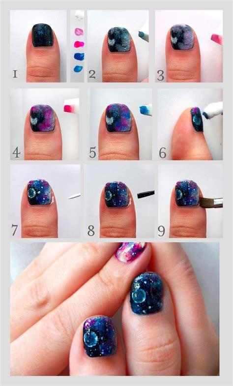 tutorial nail art pinterest pretty squared galaxy nails nail art tutorial