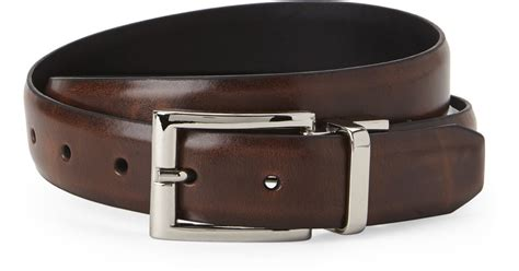 dockers reversible burnished leather belt in brown for