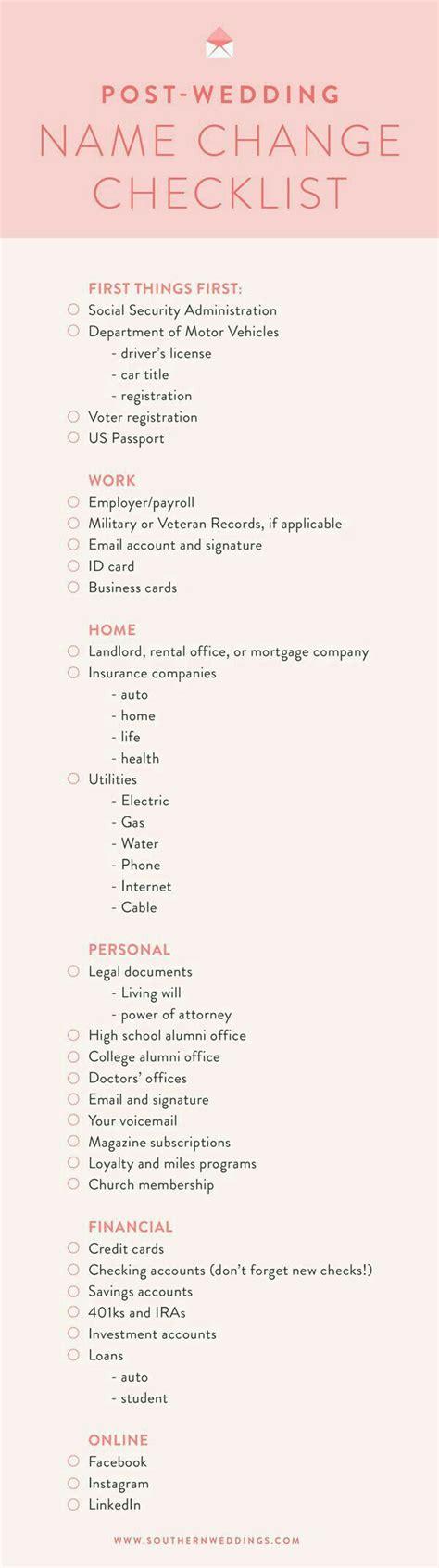 Wedding Checklist Name Change by Name Change Checklist Post Wedding Name