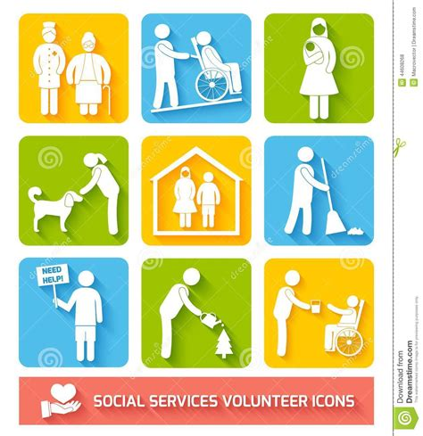 Social Work Business social services icons set flat stock vector illustration