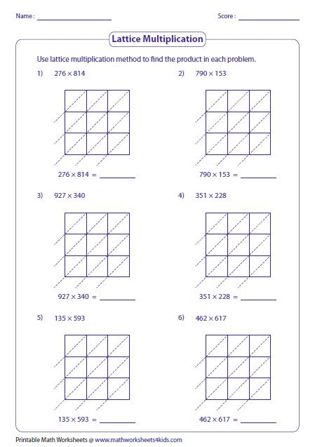 lattice multiplication worksheets  grids
