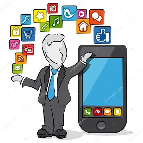 imágenes cristianas mobile dibujos animados de un empresario con aplicaciones para