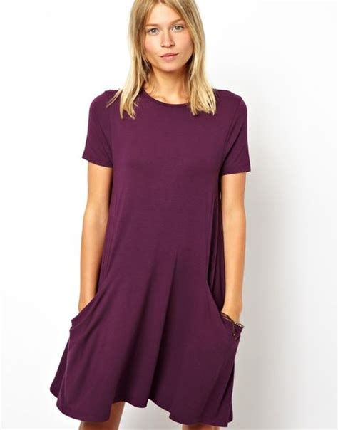 swing dress with pockets asos swing dress with pockets and short sleeves in purple
