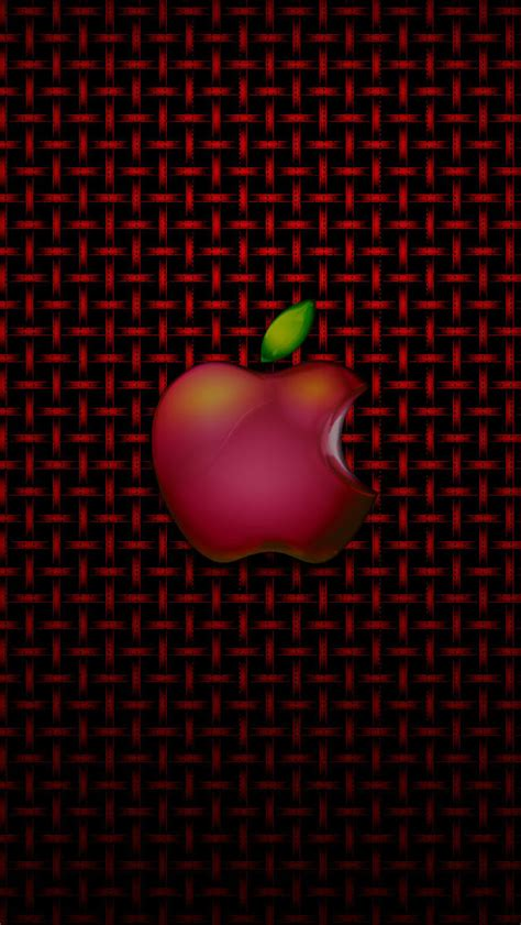 wallpaper apple ke iphone 5 wallpapers hd red apple logo on the red grid