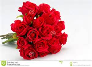 Bouquet of artificial red roses isolated space for copy in the side