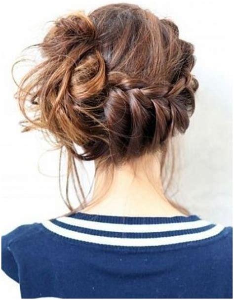formal side french braid updo 10 trendy messy braid bun updos popular haircuts