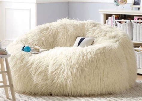 big white fluffy bean bag large white shaggy faux fur fur beanbag cover plush