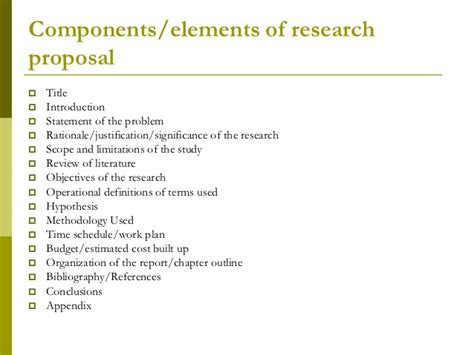 sections of a project proposal research proposal