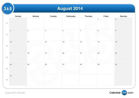 August Calendar 2014 August 2014 Calendar