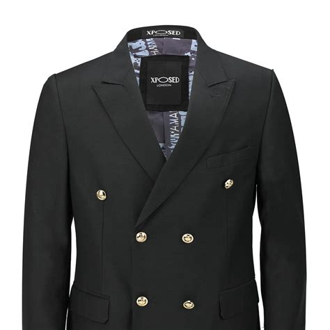 Button Jacket mens classic fitted breasted black blue blazer gold