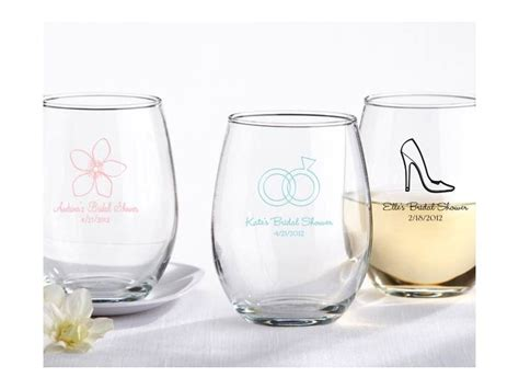 Wedding Favors Wine Glasses by Chic Stemless Wine Glasses For Wedding Guest Favors