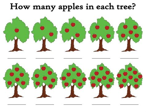 Apple Counting Worksheet by Quot How Many Apples In The Tree Quot Free Printable Apple Themed