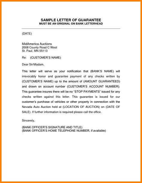 Guarantee Letter For Payment Sle 7 Guarantee Letter Format Fancy Resume