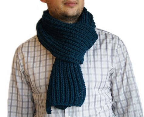 mens knitted scarf petrol blue scarf mens knit scarf scarf petrol blue by