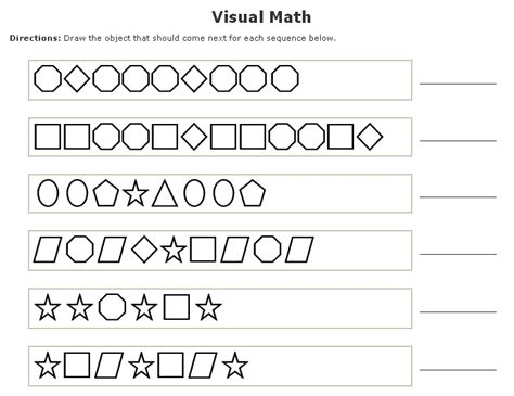 pattern recognition math worksheets visual math worksheets maker sle pattern recognition