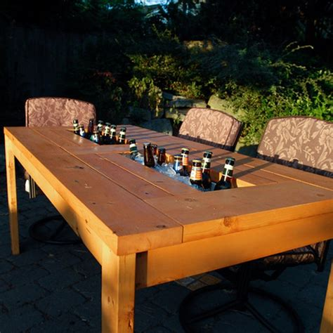 DIY Patio Table with Built in Beer/Wine Coolers   The