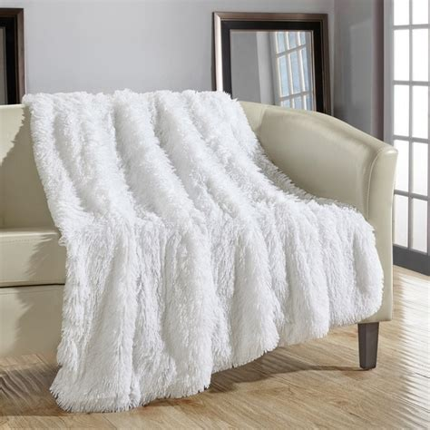 chic home juneau faux fur white throw blanket free