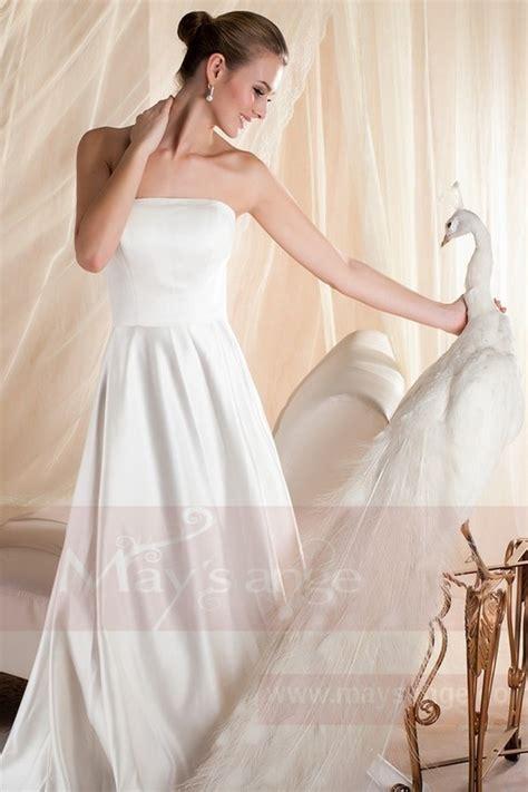 Robe Blanche Simple Pour Mariage - robe mariage bustier simple blanche en satin pas cher