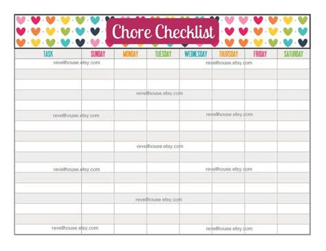 chore checklist rainbow heart to do list task list chore