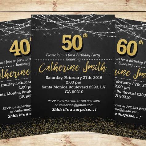 Anniversary Decorations Ideas Black And Gold 50th Birthday Party Invitations Elegant