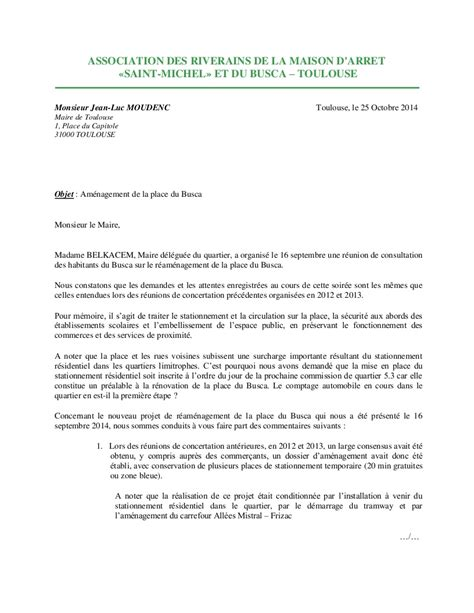 Présentation De Lettre Au Maire Lettre Au Maire Pour La Place Du Busca Association Des Riverains De La Maison D Arr 234 T St