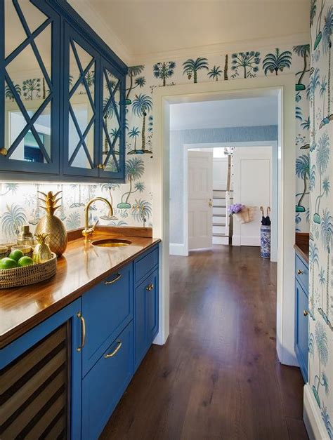 blue mirrored pantry cabinets  blue palm tree