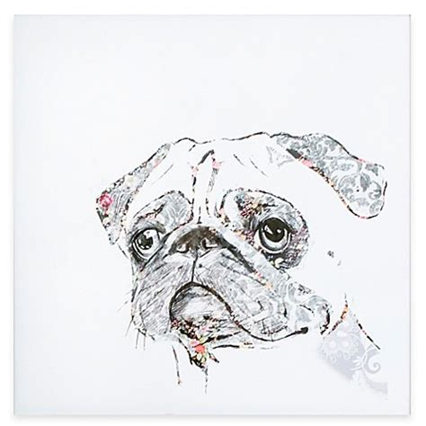 pug wallpaper for walls pug canvas wall bed bath beyond