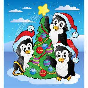 Christmas Ornament Covers - cartoon christmas scene with three penguins by clairev toon vectors eps 40006