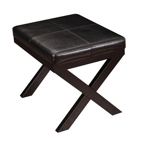 ottoman legs adeco black bonded leather contrast stitch ottoman