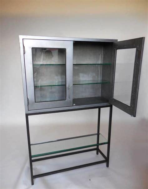 Vintage Metal Dentist Cabinet With Glass Doors And Custom Custom Cabinet Glass Doors