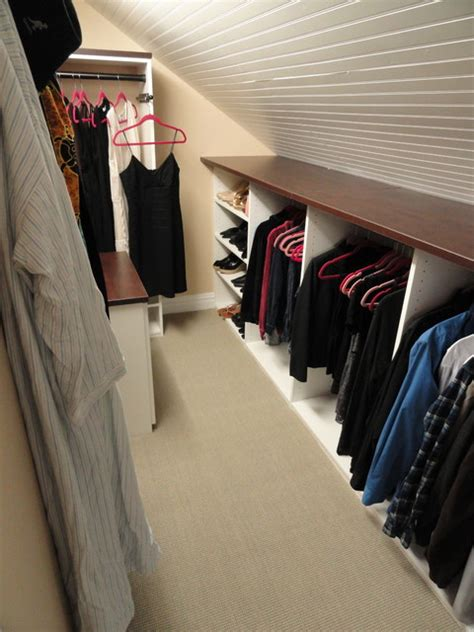 Attic Closet Design by Angled Roofline Walkin Closet New York By Andrea Gary Of Kerfuffle