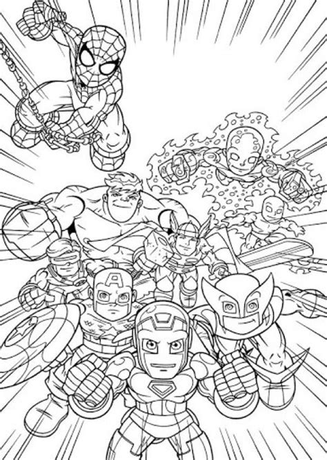 superhero coloring pages avengers online printable image of super hero squad free for kids