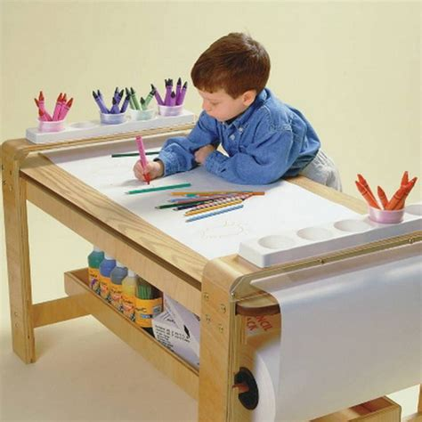 Kids Art Table With Paper Roll | new big wooden kids art table birch wood paper roll holder