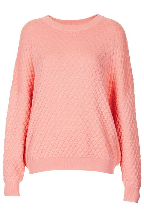 Top Shoo lyst topshop knitted quilted sweater jumper in pink