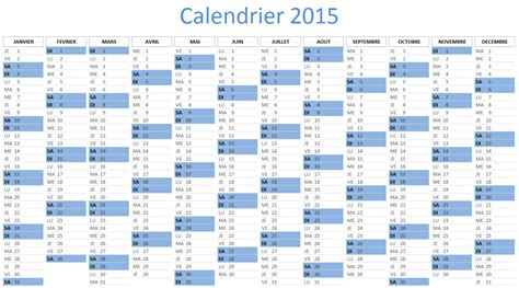 Calendrier X 2015 Calendrier 2015 Excel 224 T 233 L 233 Charger Gratuitement