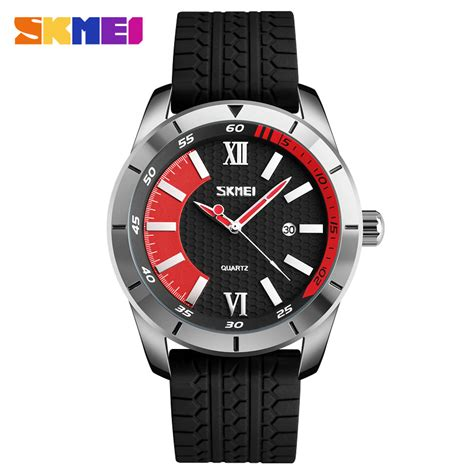 Promo Skmei Casual Leather Water Resistant 30m 9 skmei sports quartz watches fashion casual 30m water resistant silicone