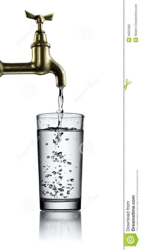 No Water In Kitchen Faucet running faucet and glass of water stock photo image