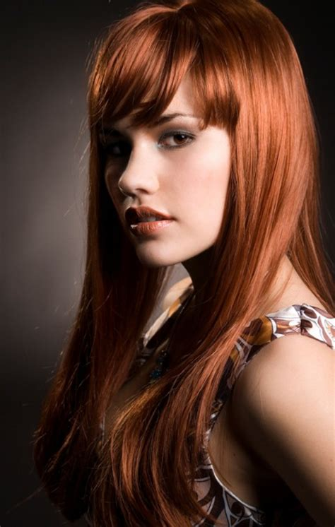long angled red hair with bangs hairstyles weekly