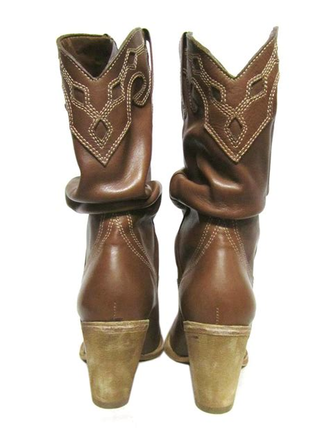 western boots with high heels schutz high heel western whiskey brown leather ruched