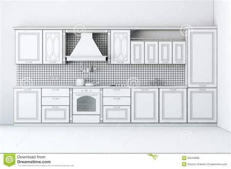 How To Renew Old Kitchen Cabinets rough draft of classic kitchen cabinet royalty free stock