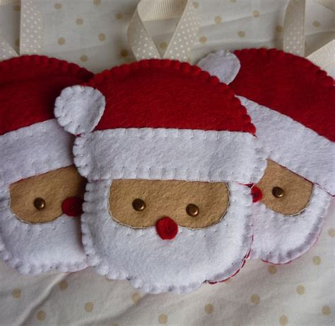 christmas decorations pattern felt ornaments by bigdreamsupply items similar to set of 3 handmade felt santa ornaments on