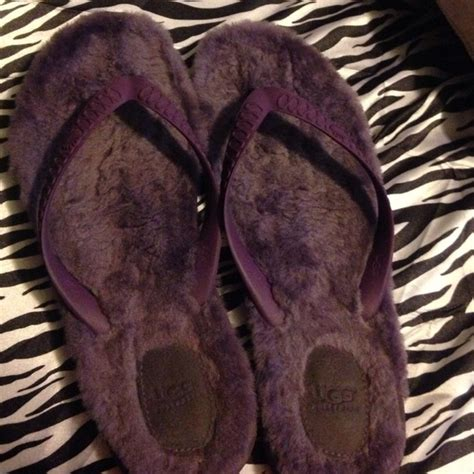 ugg fuzzy slippers 80 ugg shoes purple ugg fuzzy flip flops from