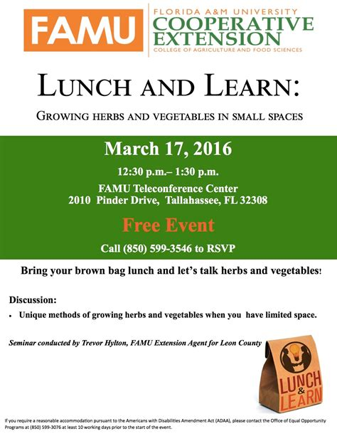 famu cooperative extension presents lunch and learn