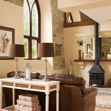 wohnzimmer creme country living room with stove ideal home
